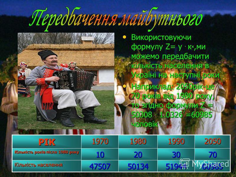 Використовуючи формулу Z= у. кх,ми можемо передбачити кількість населення в Україні на наступні роки Наприклад: 2050рік-це 70 років від 1980 року, то згідно формули Z = 50308. 1.03267=60985 чоловікРІК1970198019902050 Кількість років після 1980 року 1