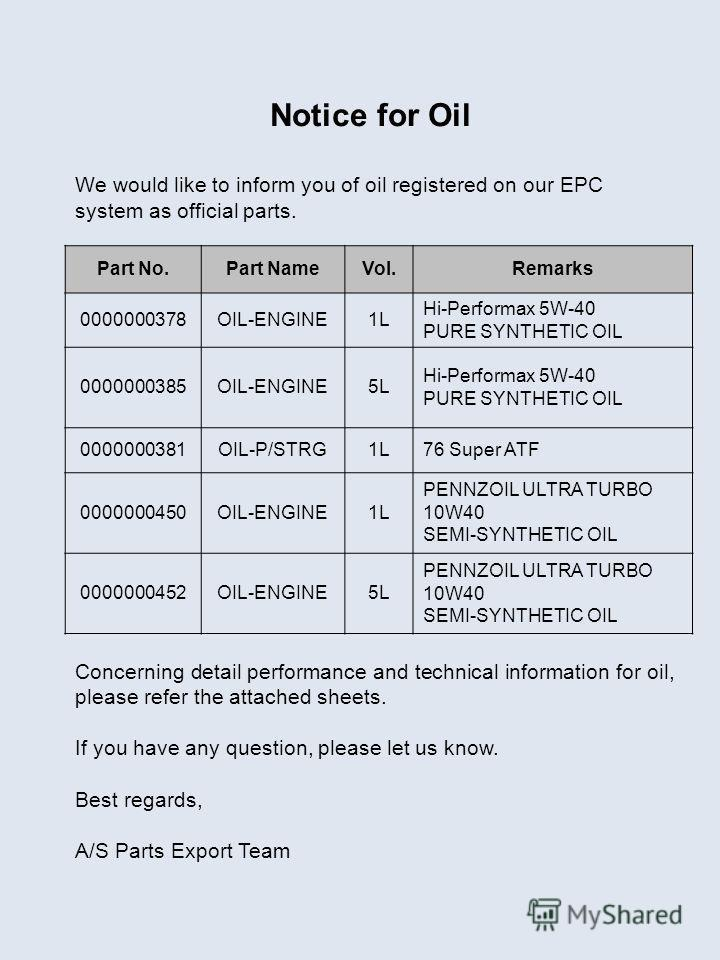 Notice for Oil We would like to inform you of oil registered on our EPC system as official parts. Concerning detail performance and technical information for oil, please refer the attached sheets. If you have any question, please let us know. Best re