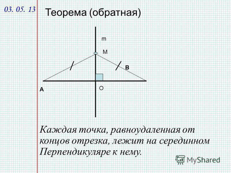 А В m М Теорема (обратная) О Каждая точка, равноудаленная от концов отрезка, лежит на серединном Перпендикуляре к нему. 03. 05. 13