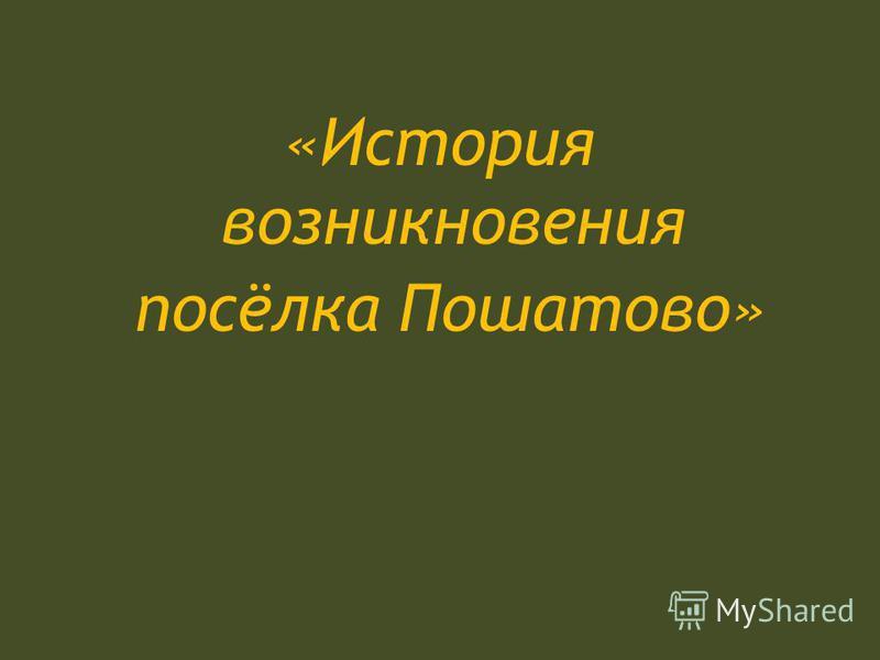 «История возникновения посёлка Пошатово»