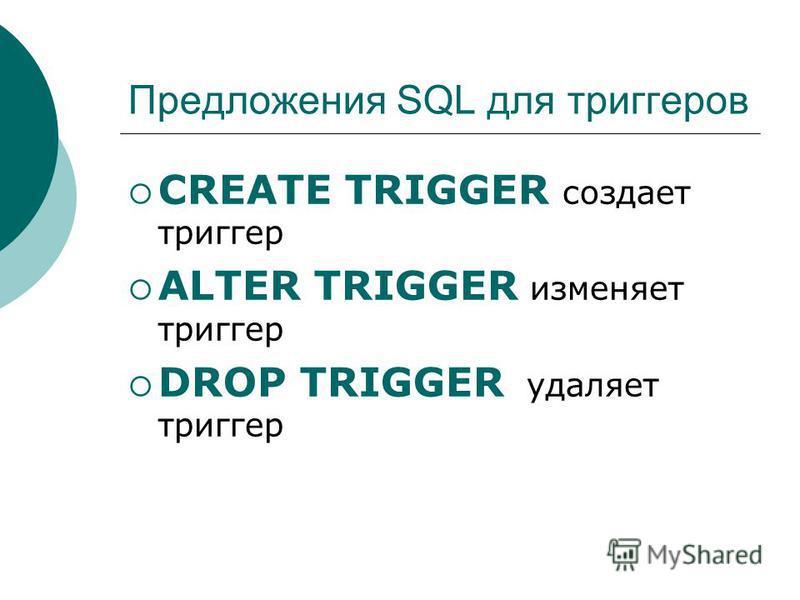 Предложения SQL для триггеров CREATE TRIGGER создает триггер ALTER TRIGGER изменяет триггер DROP TRIGGER удаляет триггер