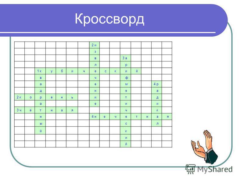 Кроссворд 2 и з в 3 а л р 1 кубический в ч ф а е м 4 р д н е а 2 корень и т д а е и и 3 ч ё т н а я ч к н 4 н е ч е т н а я ы с л й кий