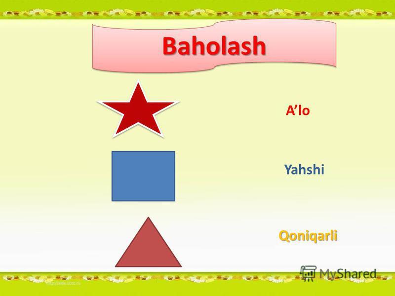 BaholashBaholash Alo Yahshi Qoniqarli