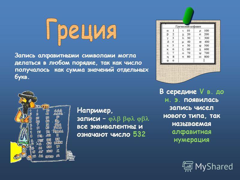 В середине V в. до н. э. появилась запись чисел нового типа, так называемая алфавитная нумерация Например, записи – все эквивалентны и означают число 532 Запись алфавитными символами могла делаться в любом порядке, так как число получалось как сумма