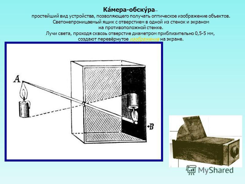 Ка́мера-сбоку́ра простейший вид устройства, позволяющего получать оптическое изображение объектов. Светонепроницаемый ящик с отверстием в одной из стенок и экраном на противоположной стенке. Лучи света, проходя сквозь отверстие диаметром приблизитель