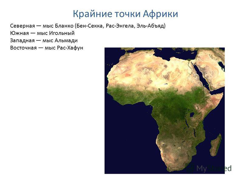 Северная мыс Бланко (Бен-Секка, Рас-Энгела, Эль-Абъяд) Южная мыс Игольный Западная мыс Альмади Восточная мыс Рас-Хафун Крайние точки Африки
