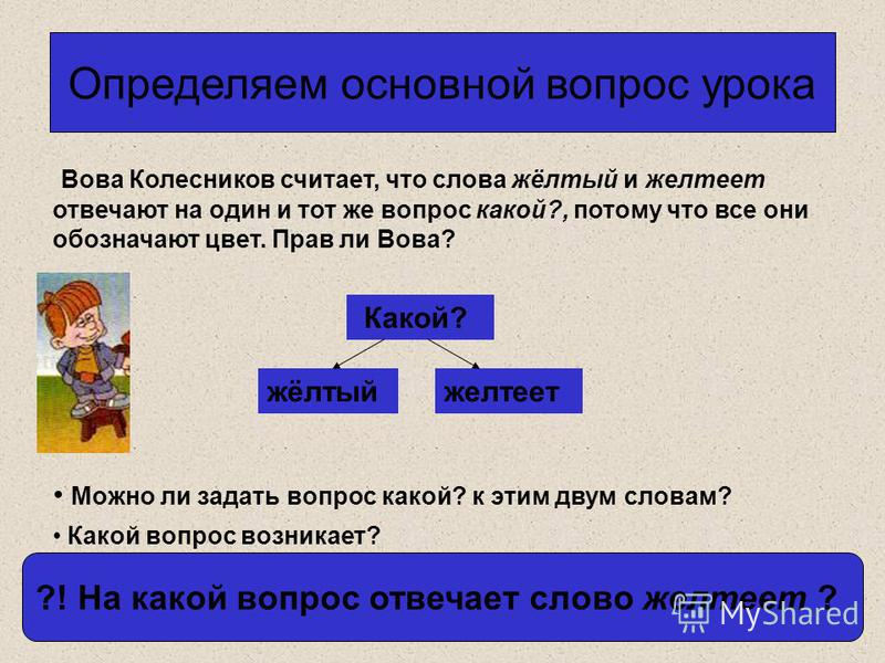 Определяем основной вопрос урока Вова Колесников считает, что слова жёлтый и желтеет отвечают на один и тот же вопрос какой?, потому что все они обозначают цвет. Прав ли Вова? Можно ли задать вопрос какой? к этим двум словам? Какой? жёлтый желтеет ?!