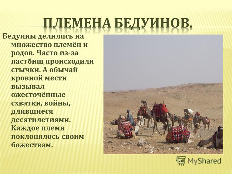 Бедуины делились на множество племён и родов. Часто из - за пастбищ происходили стычки. А обычай кровной мести вызывал ожесточённые схватки, войны, длившиеся десятилетиями. Каждое племя поклонялось своим божествам.