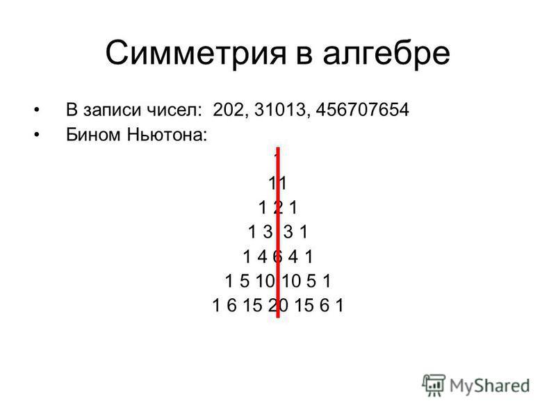 Симметрия в алгебре В записи чисел: 202, 31013, 456707654 Бином Ньютона: 1 11 1 2 1 1 3 3 1 1 4 6 4 1 1 5 10 10 5 1 1 6 15 20 15 6 1