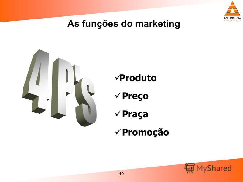 10 As funções do marketing Produto Preço Praça Promoção