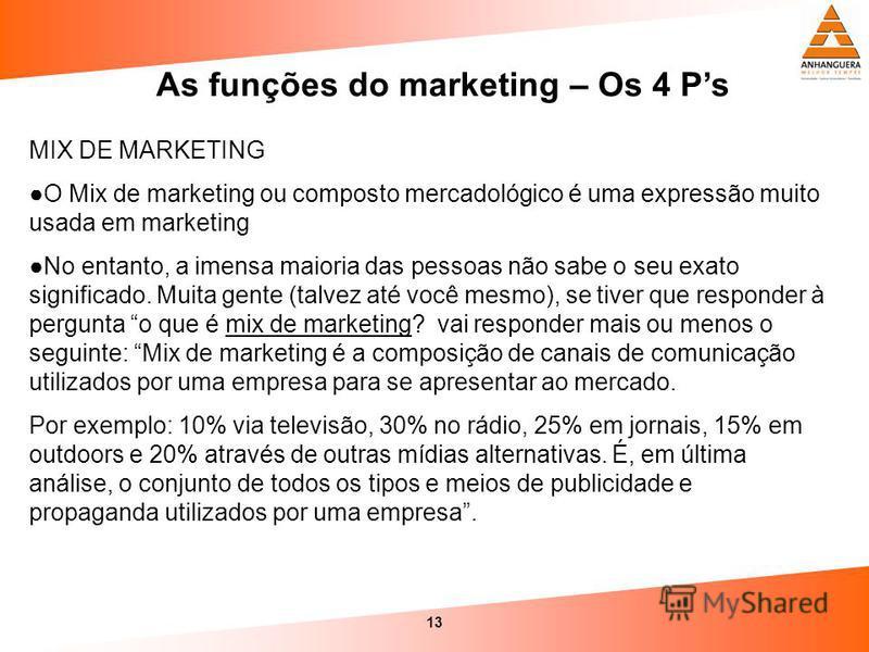 13 As funções do marketing – Os 4 Ps MIX DE MARKETING O Mix de marketing ou composto mercadológico é uma expressão muito usada em marketing No entanto, a imensa maioria das pessoas não sabe o seu exato significado. Muita gente (talvez até você mesmo)