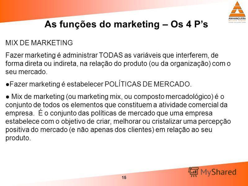 15 As funções do marketing – Os 4 Ps MIX DE MARKETING Fazer marketing é administrar TODAS as variáveis que interferem, de forma direta ou indireta, na relação do produto (ou da organização) com o seu mercado. Fazer marketing é estabelecer POLÍTICAS D
