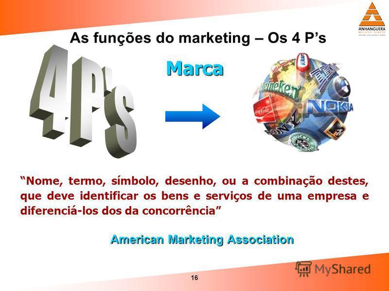 16 As funções do marketing – Os 4 Ps Nome, termo, símbolo, desenho, ou a combinação destes, que deve identificar os bens e serviços de uma empresa e diferenciá-los dos da concorrência American Marketing Association Marca