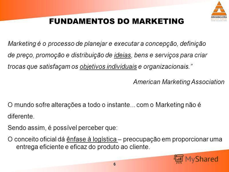 6 Marketing é o processo de planejar e executar a concepção, definição de preço, promoção e distribuição de ideias, bens e serviços para criar trocas que satisfaçam os objetivos individuais e organizacionais. American Marketing Association O mundo so