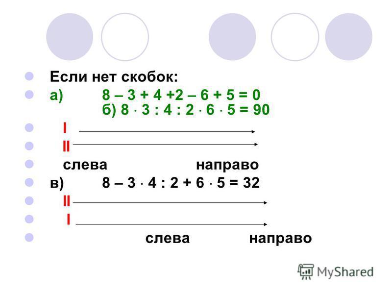 Если нет скобок: а)8 – 3 + 4 +2 – 6 + 5 = 0 б) 8 3 : 4 : 2 6 5 = 90 I II слева направо в)8 – 3 4 : 2 + 6 5 = 32 II I слева направо