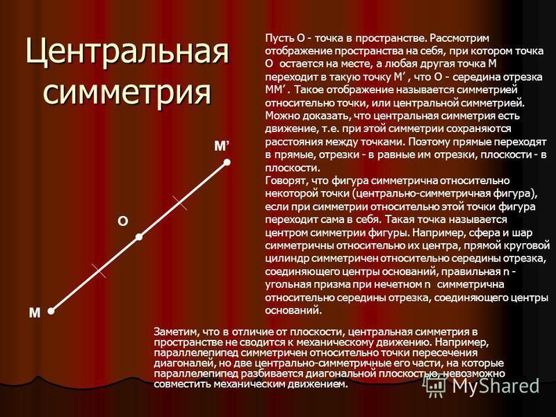 М M О Пусть О - точка в пространстве. Рассмотрим отображение пространства на себя, при котором точка О остается на месте, а любая другая точка M переходит в такую точку М, что О - середина отрезка MM. Такое отображение называется симметрией относител