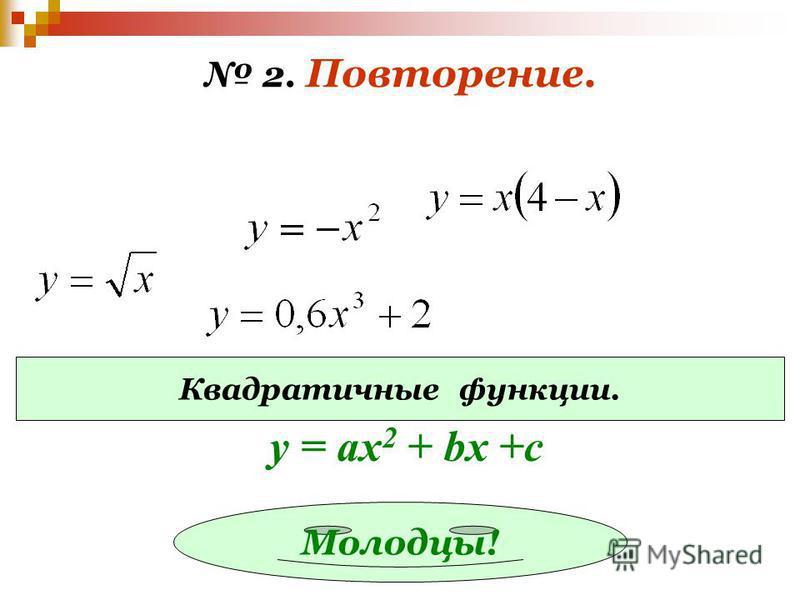 2. Повторение. Квадратичные функции. Молодцы! у = ах 2 + bx +c