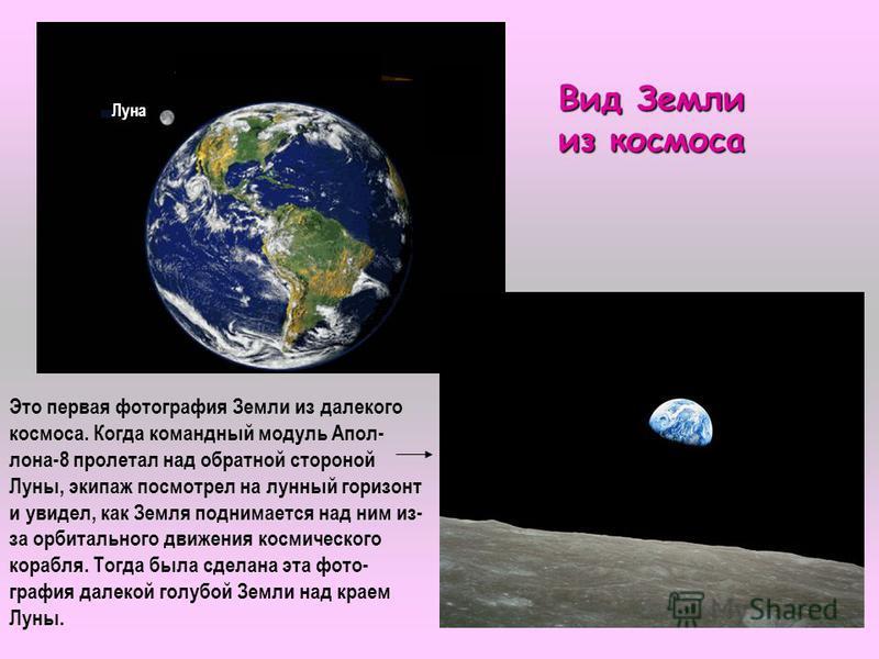 2 Луна Вид Земли из космоса Это первая фотография Земли из далекого космоса. Когда командный модуль Апол- лона-8 пролетал над обратной стороной Луны, экипаж посмотрел на лунный горизонт и увидел, как Земля поднимается над ним из- за орбитального движ