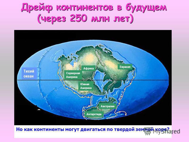 32 Дрейф континентов в будущем (через 250 млн лет) (через 250 млн лет) Тихий океан Серверная Америка Южная Америка Африка Евразия Австралия Антарктида Но как континенты могут двигаться по твердой земной коре?
