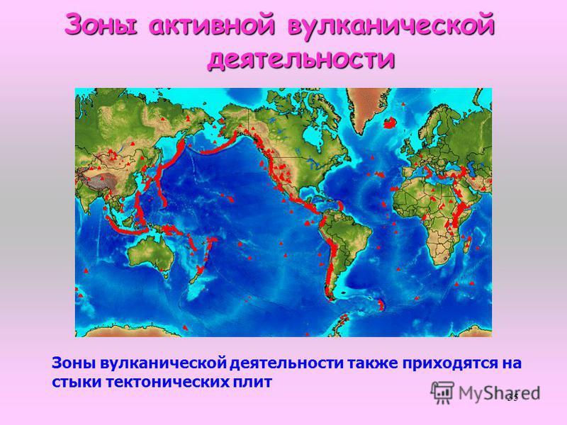 35 Зоны активной вулканической Зоны активной вулканической деятельности деятельности Зоны вулканической деятельности также приходятся на стыки тектонических плит