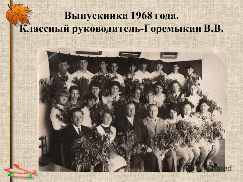 Выпускники 1968 года. Классный руководитель-Горемыкин В.В.