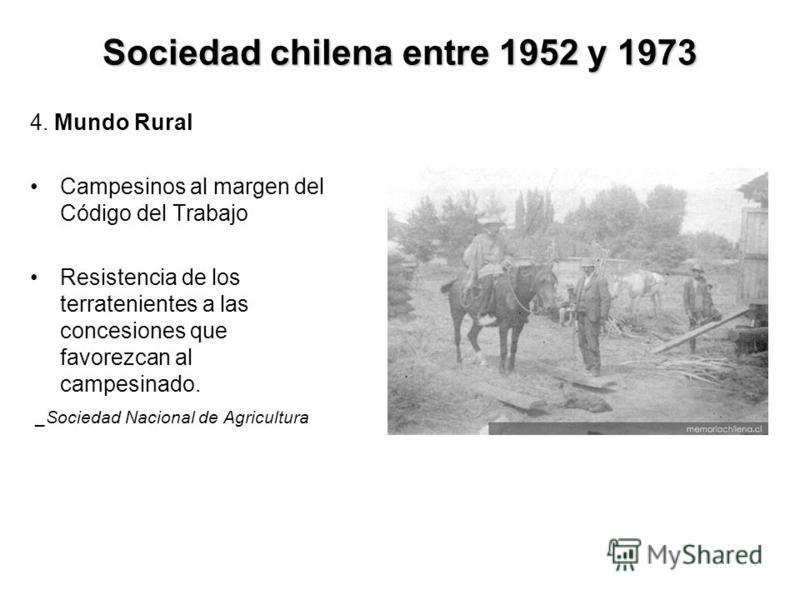 Sociedad chilena entre 1952 y 1973 4. Mundo Rural Campesinos al margen del Código del Trabajo Resistencia de los terratenientes a las concesiones que favorezcan al campesinado. _Sociedad Nacional de Agricultura