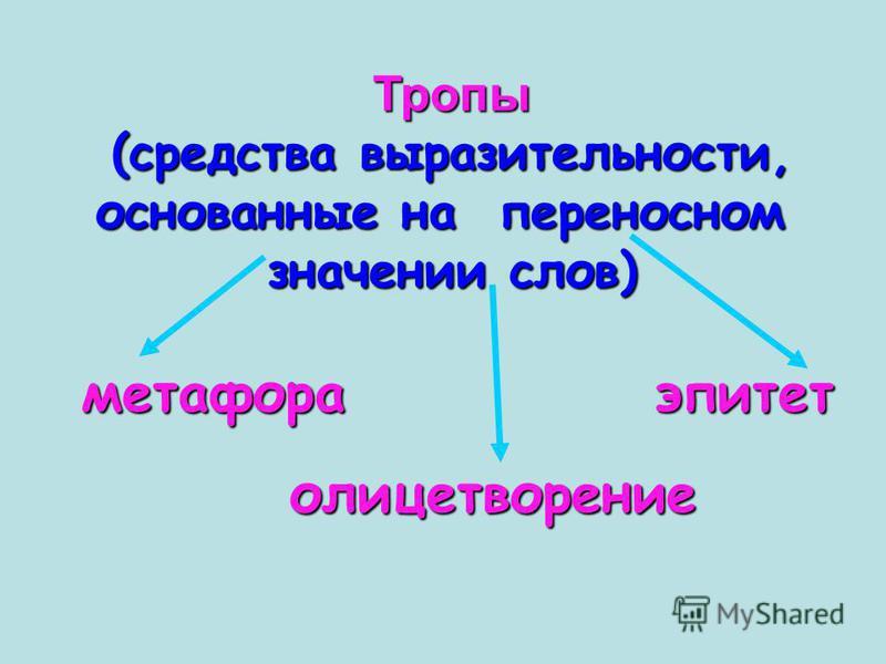 Тропы (средства выразительности, основанные на переносном значении слов) метафора эпитет олицетворение