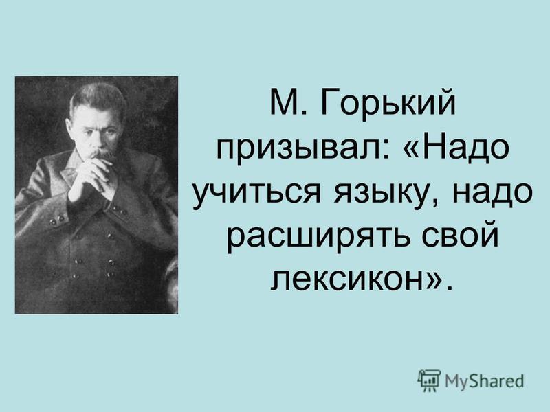М. Горький призывал: «Надо учиться языку, надо расширять свой лексикон».
