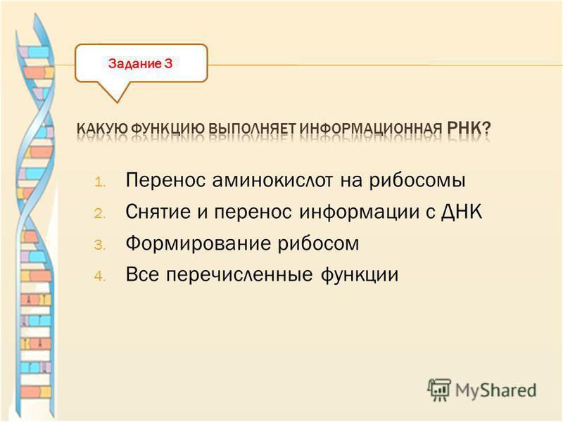 1. Перенос аминокислот на рибосомы 2. Снятие и перенос информации с ДНК 3. Формирование рибосом 4. Все перечисленные функции Задание 3