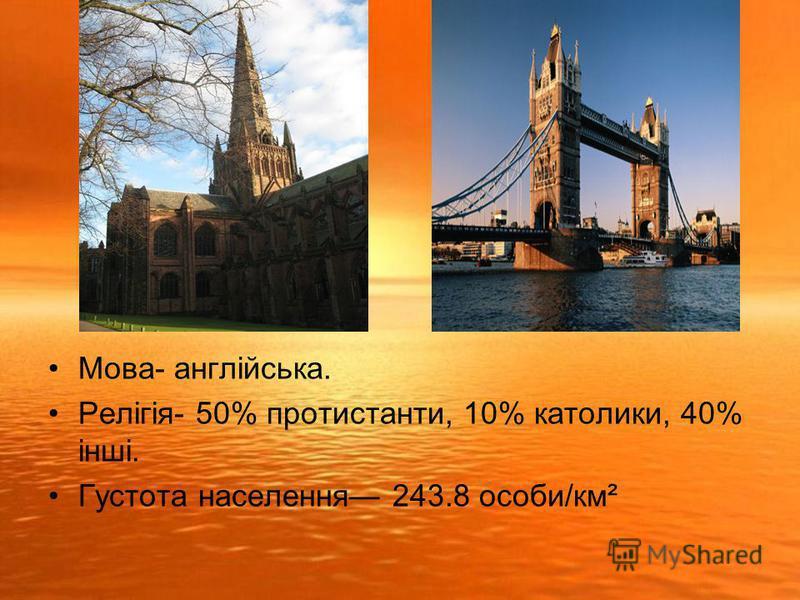 Мова- англійська. Релігія- 50% протистанти, 10% католики, 40% інші. Густота населення 243.8 особи/км²