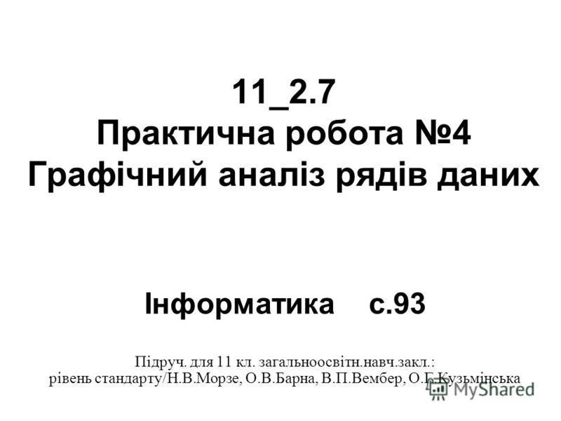 11_2.7 Практична робота 4 Графічний аналіз рядів даних Інформатикас.93 Підруч. для 11 кл. загальноосвітн.навч.закл.: рівень стандарту/Н.В.Морзе, О.В.Барна, В.П.Вембер, О.Г.Кузьмінська