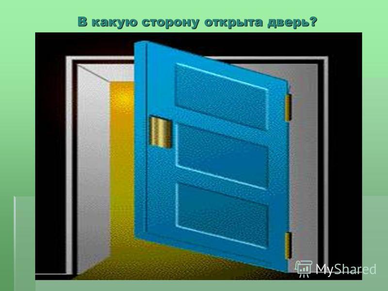 В какую сторону открыта дверь?