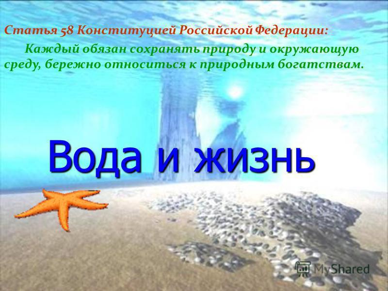 Вода и жизнь Статья 58 Конституцией Российской Федерации: Каждый обязан сохранять природу и окружающую среду, бережно относиться к природным богатствам.