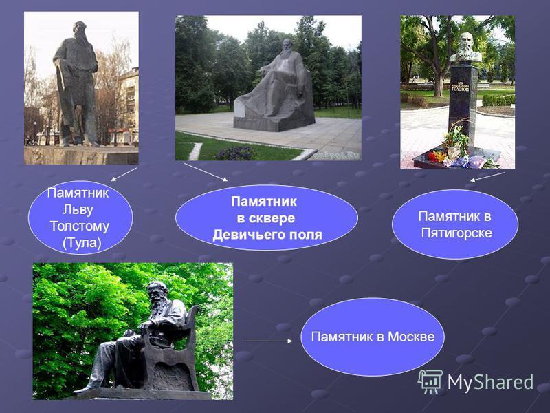 Памятник Льву Толстому (Тула) Памятник в сквере Девичьего поля Памятник в Пятигорске Памятник в Москве