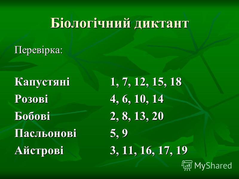 Біологічний диктант Перевірка: Капустяні1, 7, 12, 15, 18 Розові4, 6, 10, 14 Бобові2, 8, 13, 20 Пасльонові5, 9 Айстрові3, 11, 16, 17, 19