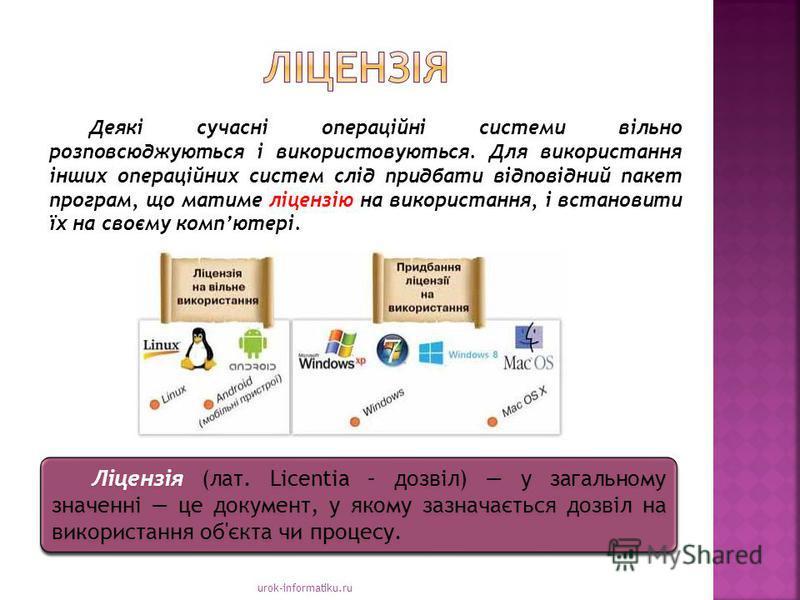 urok-informatiku.ru Ліцензія (лат. Licentia – дозвіл) у загальному значенні це документ, у якому зазначається дозвіл на використання об'єкта чи процесу. Деякі сучасні операційні системи вільно розповсюджуються і використовуються. Для використання інш