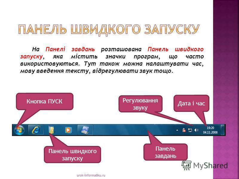 urok-informatiku.ru На Панелі завдань розташована Панель швидкого запуску, яка містить значки програм, що часто використовуються. Тут також можна налаштувати час, мову введення тексту, відрегулювати звук тощо. Панель швидкого запуску Панель завдань Д