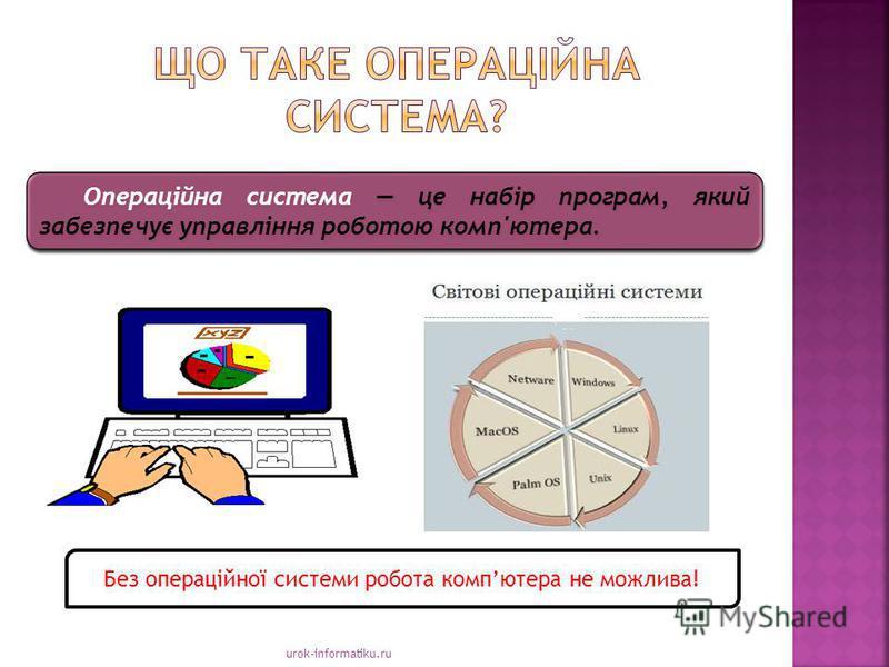 urok-informatiku.ru Операційна система це набір програм, який забезпечує управління роботою комп'ютера. Без операційної системи робота компютера не можлива!