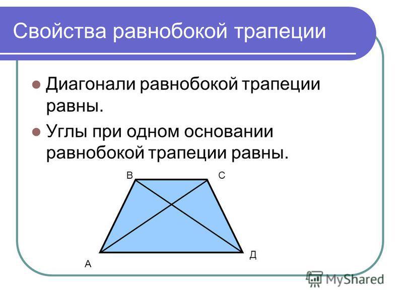 Свойства равнобокой трапеции Диагонали равнобокой трапеции равны. Углы при одном основании равнобокой трапеции равны. А СВ Д