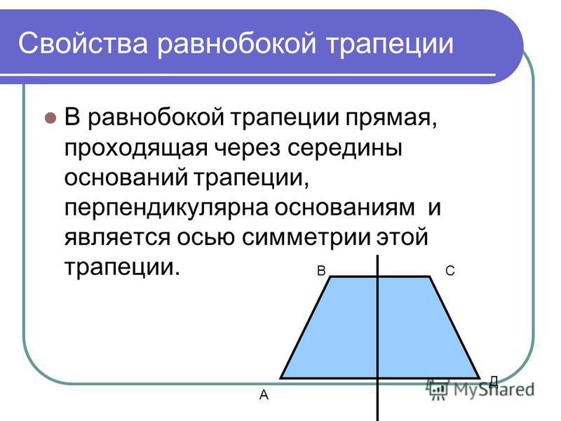 Свойства равнобокой трапеции В равнобокой трапеции прямая, проходящая через середины оснований трапеции, перпендикулярна основаниям и является осью симметрии этой трапеции. А СВ Д