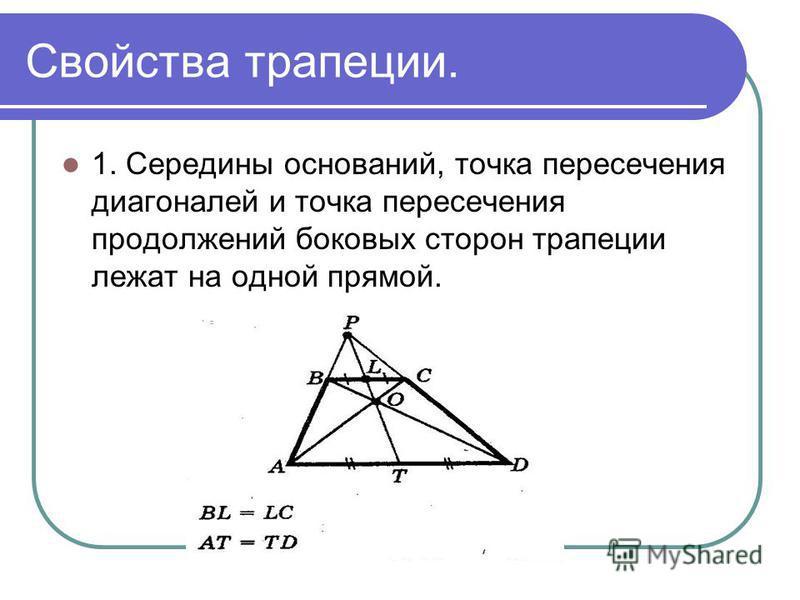 Свойства трапеции. 1. Середины оснований, точка пересечения диагоналей и точка пересечения продолжений боковых сторон трапеции лежат на одной прямой.