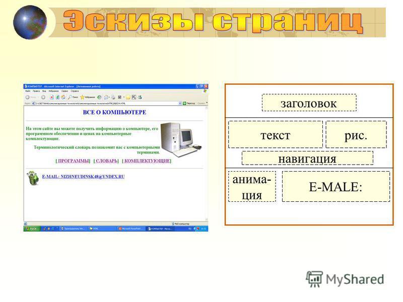 заголовок текст рис. навигация анимация E-MALE: