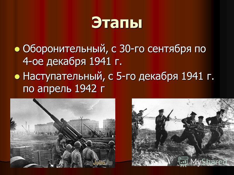 Этапы Оборонительный, с 30-го сентября по 4-ое декабря 1941 г. Оборонительный, с 30-го сентября по 4-ое декабря 1941 г. Наступательный, с 5-го декабря 1941 г. по апрель 1942 г Наступательный, с 5-го декабря 1941 г. по апрель 1942 г