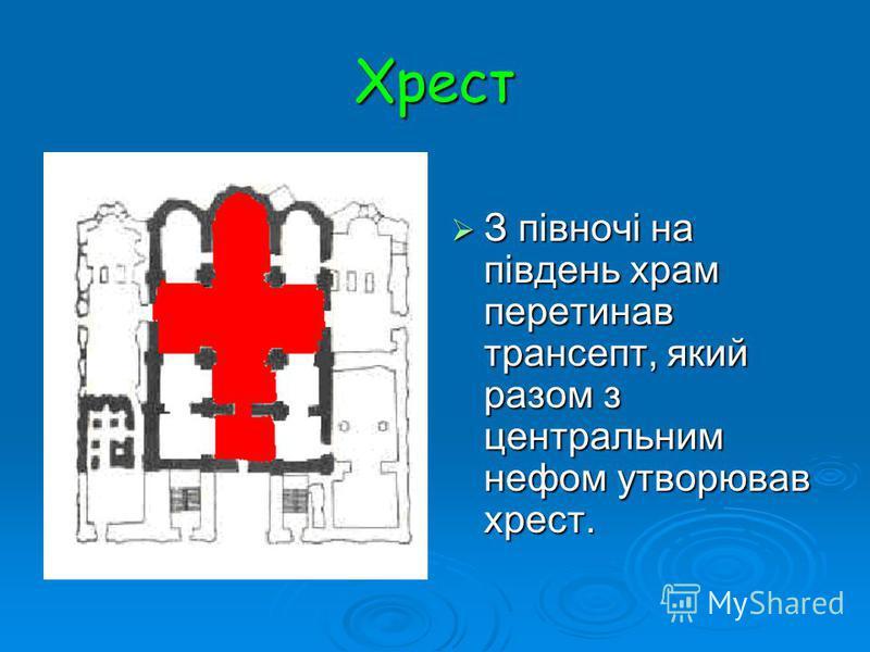 Хрест З півночі на південь храм перетинав трансепт, який разом з центральним нефом утворював хрест. З півночі на південь храм перетинав трансепт, який разом з центральним нефом утворював хрест.