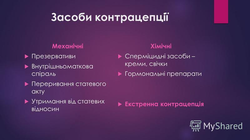 Засоби контрацепції Механічні Презервативи Внутрішньоматкова спіраль Переривання статевого акту Утримання від статевих відносин Хімічні Сперміцидні засоби – креми, свічки Гормональні препарати Екстренна контрацепція