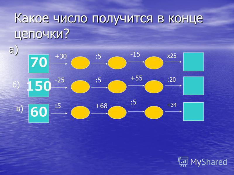Какое число получится в конце цепочки? а) 70 +30:5 -15 х 25 б) 150 -25:5 +55 :20 в) 60 :5+68 +34 :5
