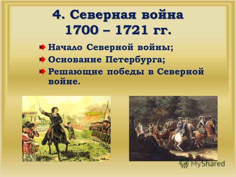 4. Северная война 1700 – 1721 гг. Начало Северной войны; Основание Петербурга; Решающие победы в Северной войне.