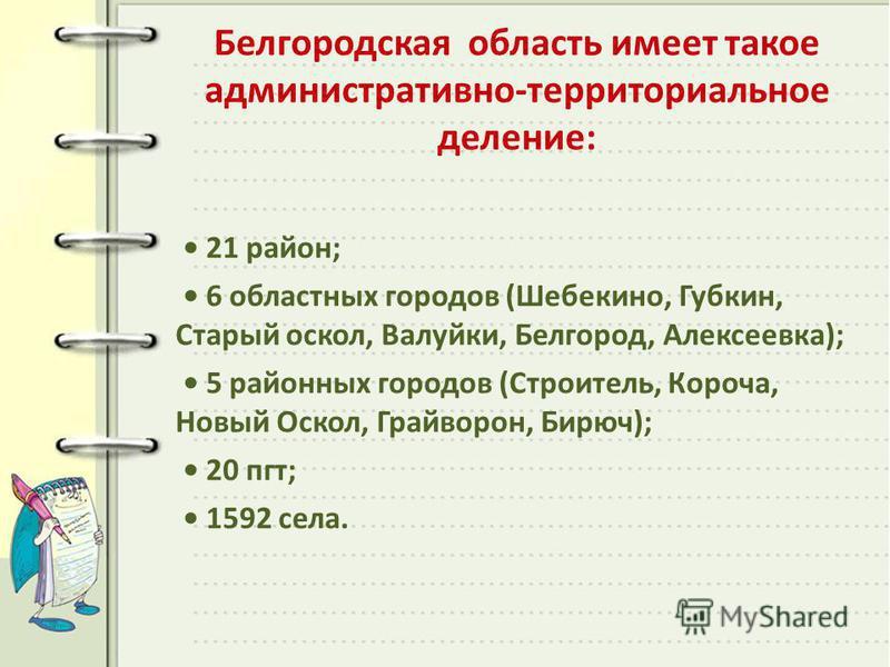 Белгородская область имеет такое административно-территориальное деление: 21 район; 6 областных городов (Шебекино, Губкин, Старый оскол, Валуйки, Белгород, Алексеевка); 5 районных городов (Строитель, Короча, Новый Оскол, Грайворон, Бирюч); 20 пгт; 15