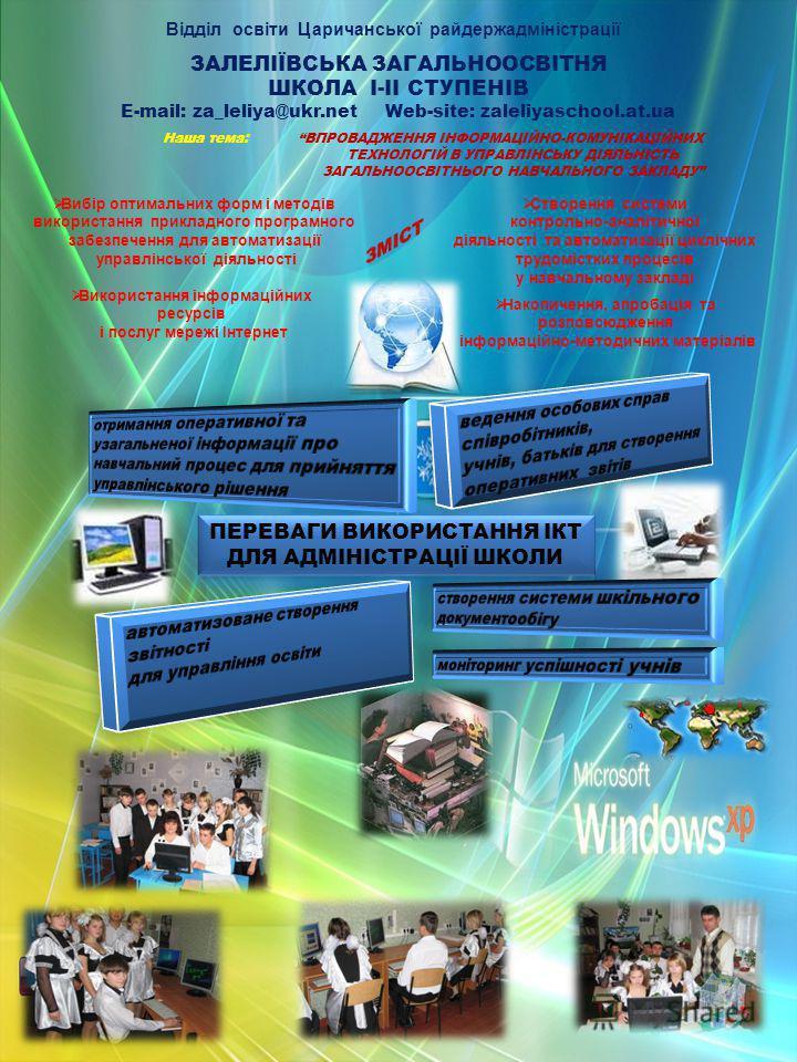 ЗАЛЕЛІЇВСЬКА ЗАГАЛЬНООСВІТНЯ ШКОЛА І-ІІ СТУПЕНІВ E-mail: za_leliya@ukr.net Web-site: zaleliyaschool.at.ua Наша тема: ВПРОВАДЖЕННЯ ІНФОРМАЦІЙНО-КОМУНІКАЦІЙНИХ ТЕХНОЛОГІЙ В УПРАВЛІНСЬКУ ДІЯЛЬНІСТЬ ЗАГАЛЬНООСВІТНЬОГО НАВЧАЛЬНОГО ЗАКЛАДУ ПЕРЕВАГИ ВИКОРИС