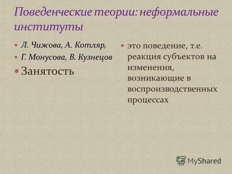 Л. Чижова, А. Котляр, Г. Монусова, В. Кузнецов Занятость это поведение, т.е. реакция субъектов на изменения, возникающие в воспроизводственных процессах